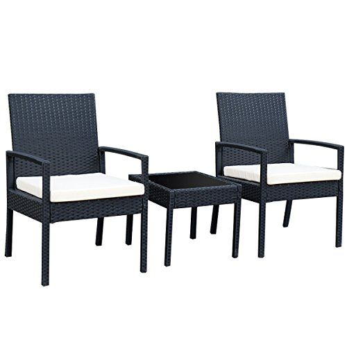 Tangkula 3 PCS Outdoor Rattan Patio Furniture Set Backyard Garden Furniture  Seat Cushioned   Best Online Shopping Deals Today in USA. Tangkula 3 PCS Outdoor Rattan Patio Furniture Set Backyard Garden