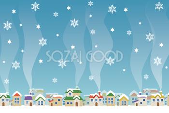冬の背景フリーイラスト 雪の降る街並み 38809 クリスマス イラスト