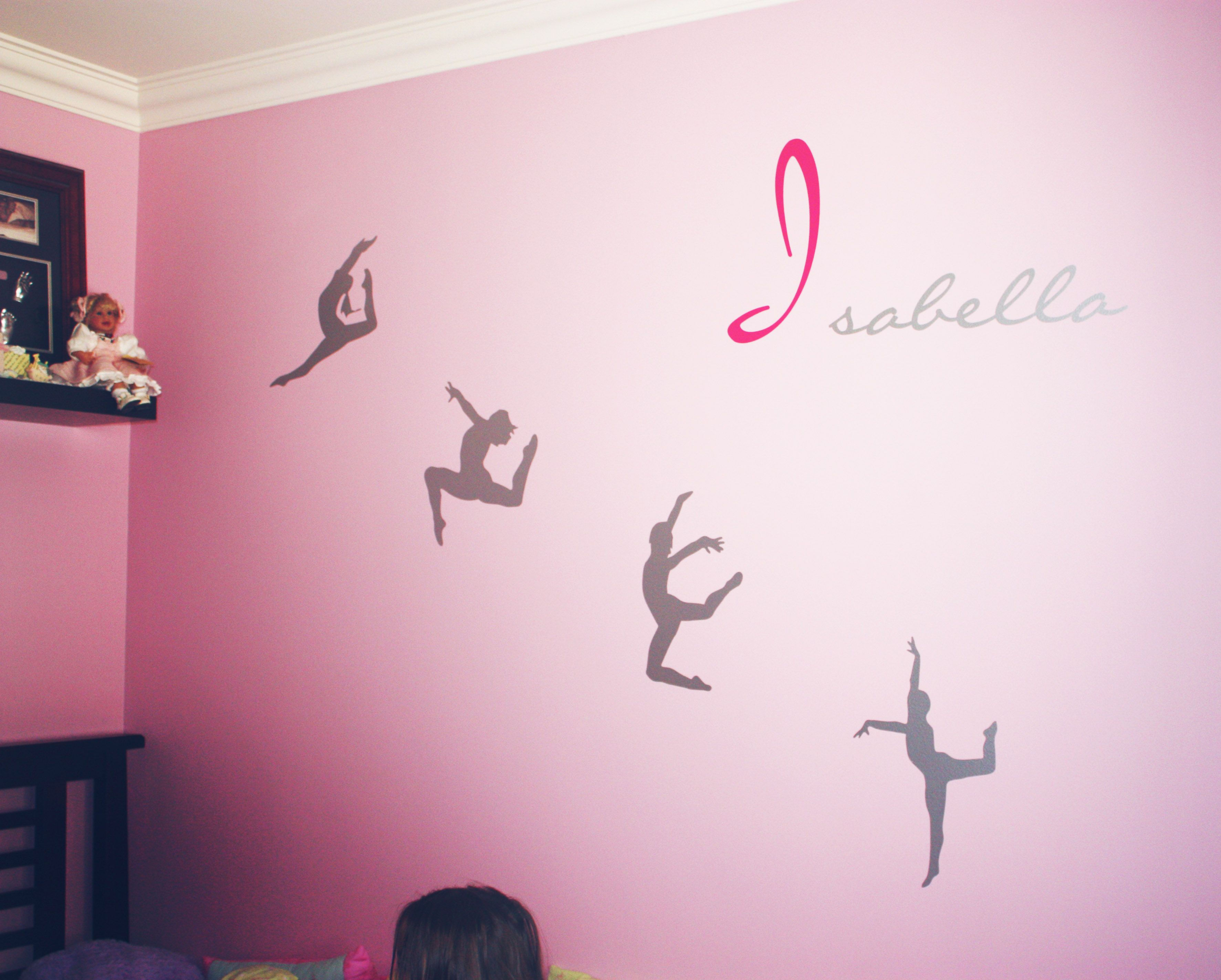 Our Modern Dance Wall Decal Design Installed With A Custom Name Decal.  Looks Great For