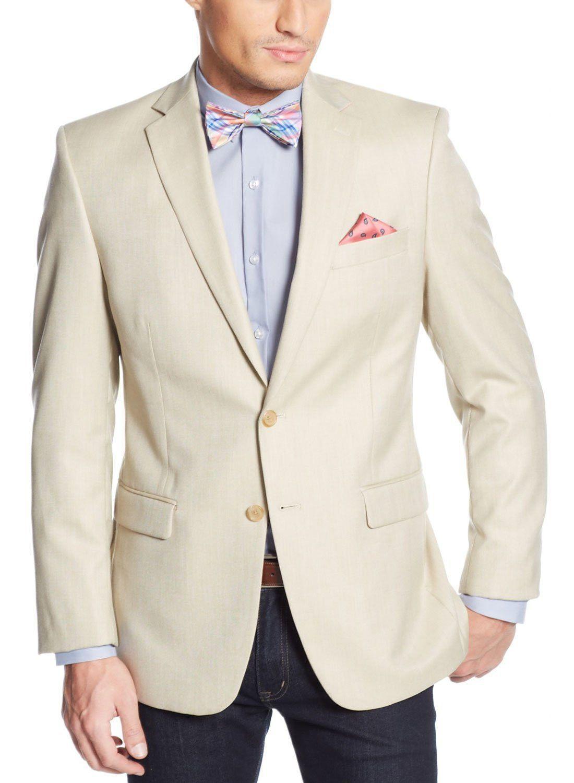 Alfani Red Slim Blazer Stone Solid Cotton & Silk New Men's