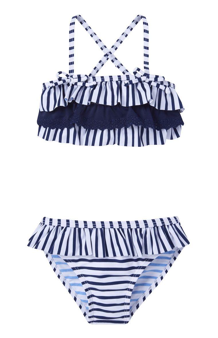 7f2594b1dbb6 Primark - Biquíni com folho azul-marinho às riscas | Summer girls ...