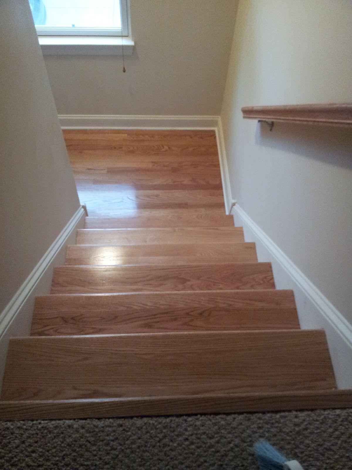 Red Oak Hardwood Stair Refinishing Red Oak Hardwood Hardwood   Wooden Stairs Carpet Landing   French Cap   Contemporary   Redo   Upstairs   Partially Carpeted