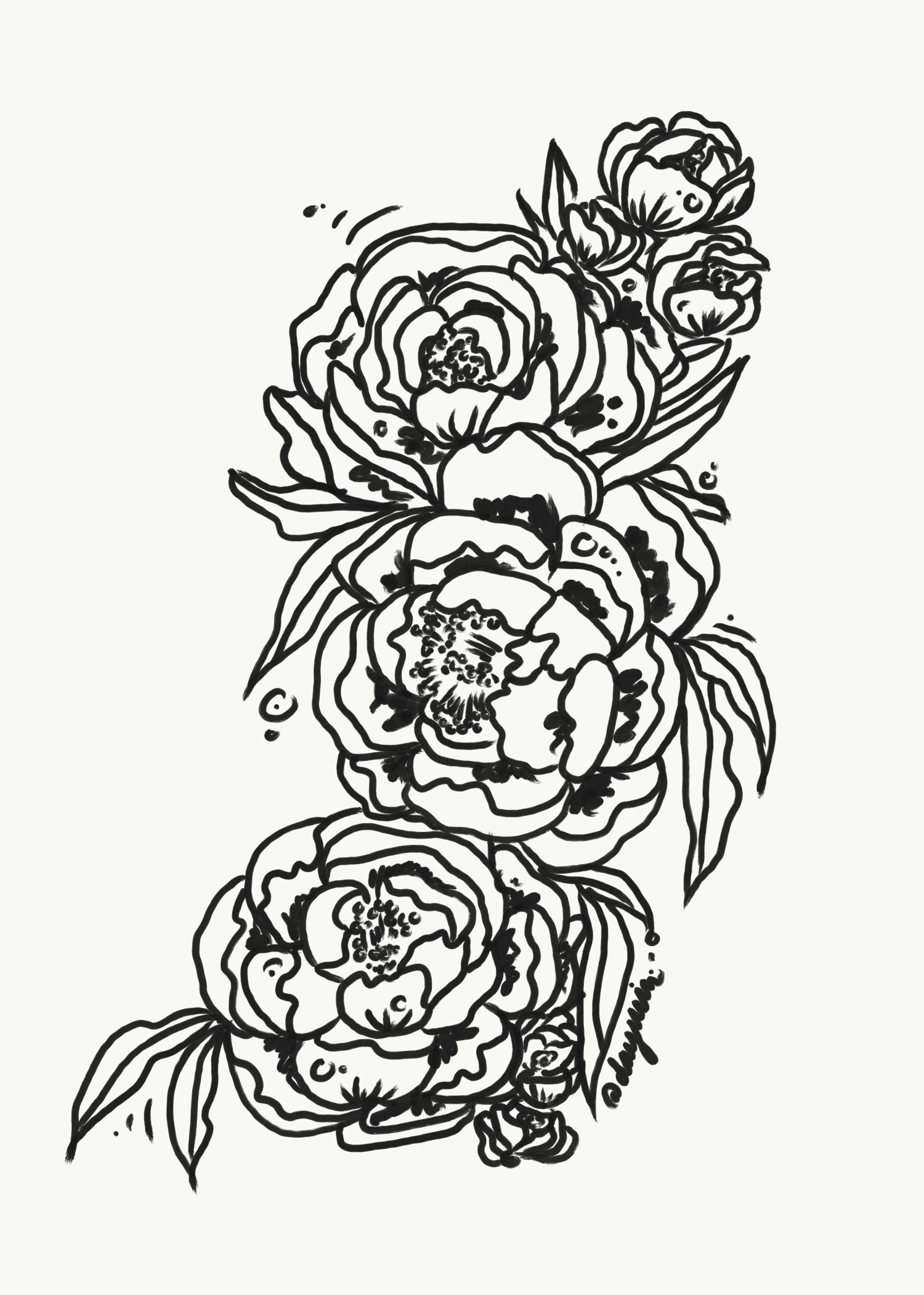 Peonies Creative Tattoo Design Of Peone Flowers In Black And White