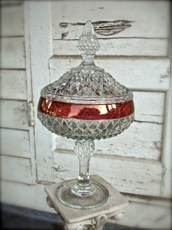 Vintage Pressed Glass Diamond Cut Candy Dish With Lid Crystal Candy