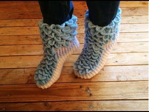 Crochet : Chaussons adulte point crocodile facile / Crochet ...