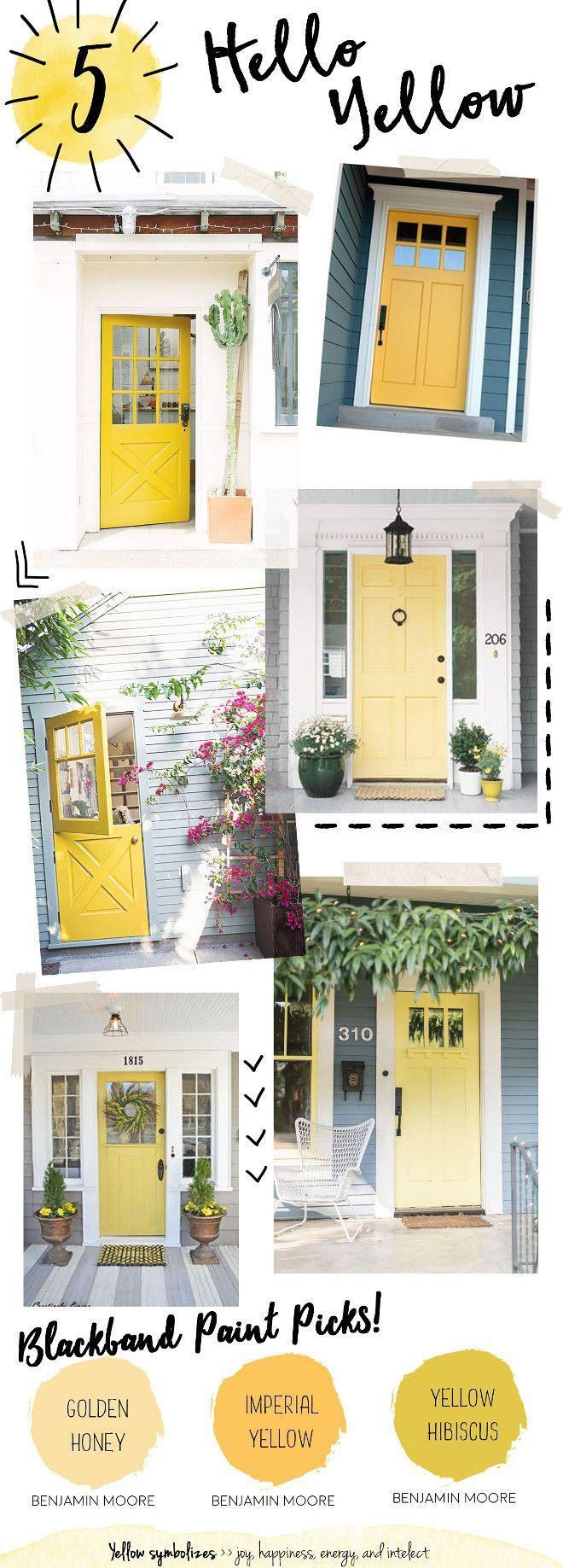 Yellow Door Paint Color Front Benjamin Moore Golden Honey Imperial Hibiscus