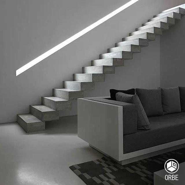 Escalera de estilo minimalista con cemento alisado todo - Escaleras de cemento para interiores ...