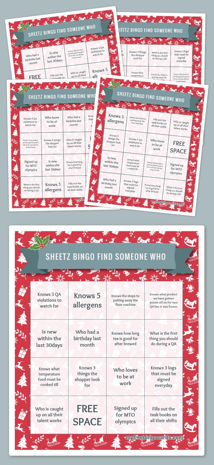 Sheetz Bingo Find someone who | Favorites | Pinterest