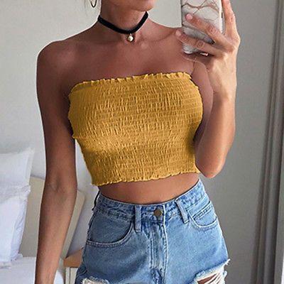 8b21443ea85 Women Off Shoulder Crop Tops Bra Elastic Strapless Blouse Bandeau Tube Top  Shirt