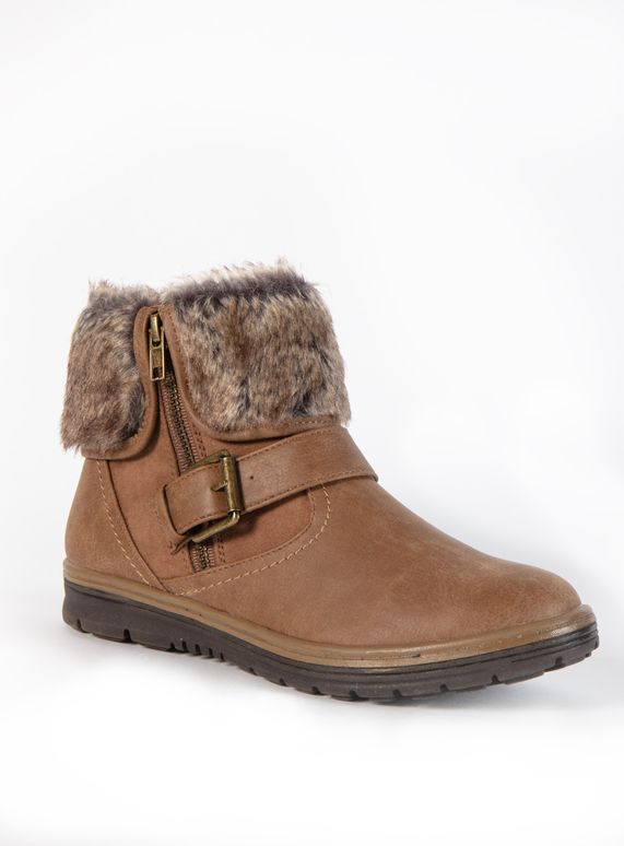 big sale lowest price 50% off Sole Comfort Brown Fur Zip Ankle Boot from Tu at Sainsbury's ...