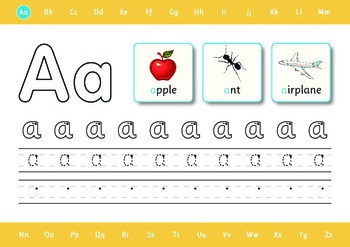 Alphabet Tracing - A-Z step by step guide to learning to write the alphabet.