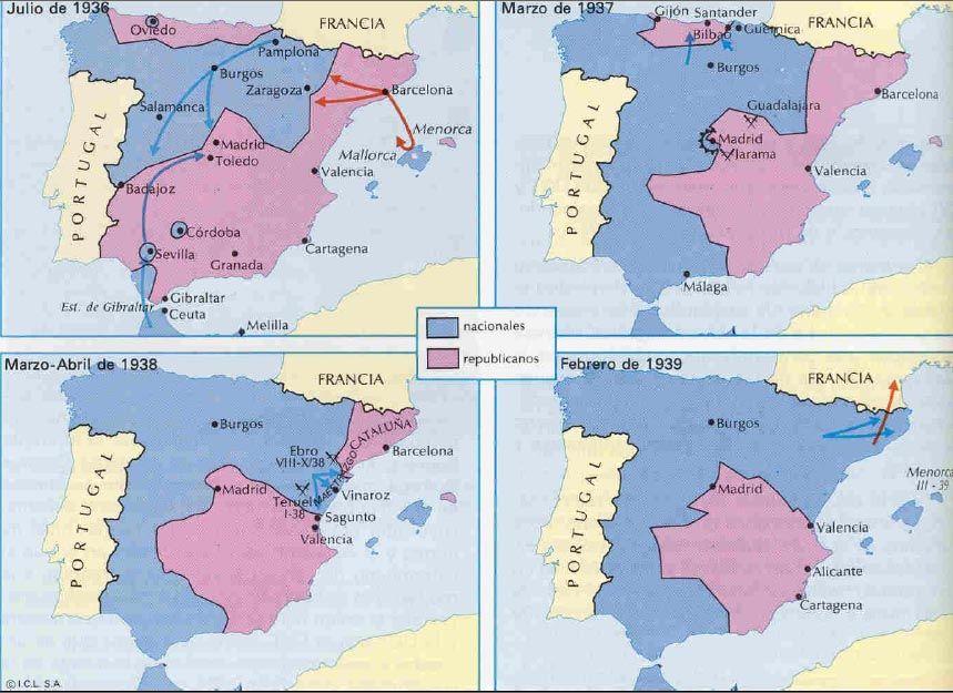 Mapas Guerra Civil Espaola  Guerra civil  Pinterest  Maps maps