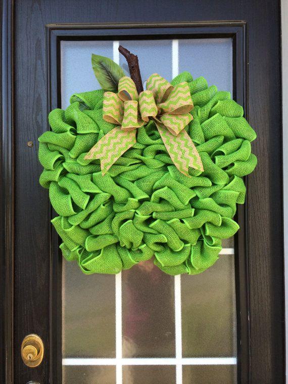 Extra Large Burlap Apple Wreath Granny Smith Green Apple Door Hanger Made with Looped Burlap Ribbon; Teacheru0027s Door Hanger; Teacheru0027s Apple on Etsy $54.99 & Extra Large Burlap Apple Wreath Granny Smith Green Apple Door ...