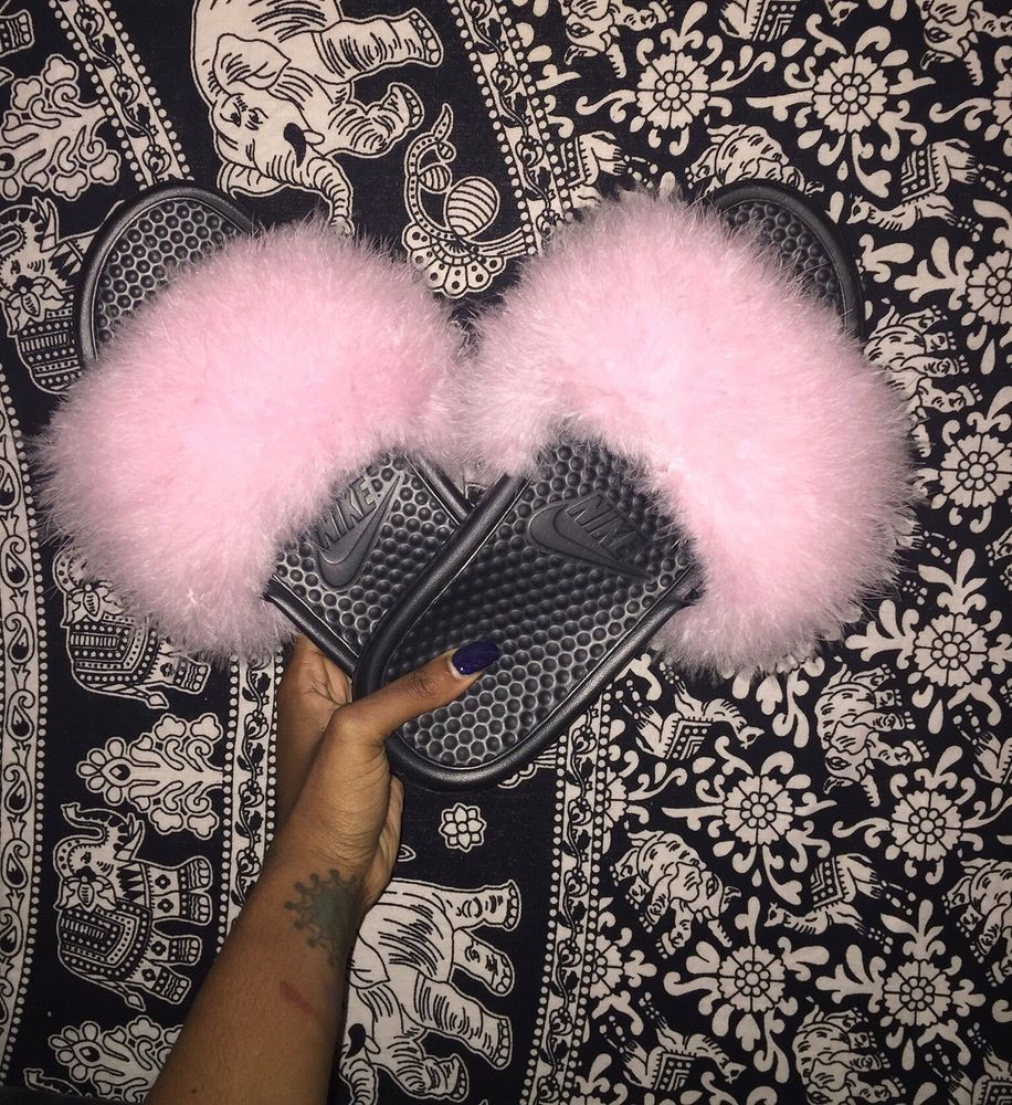 image of baby pink turkey feather slides fashion pinterest