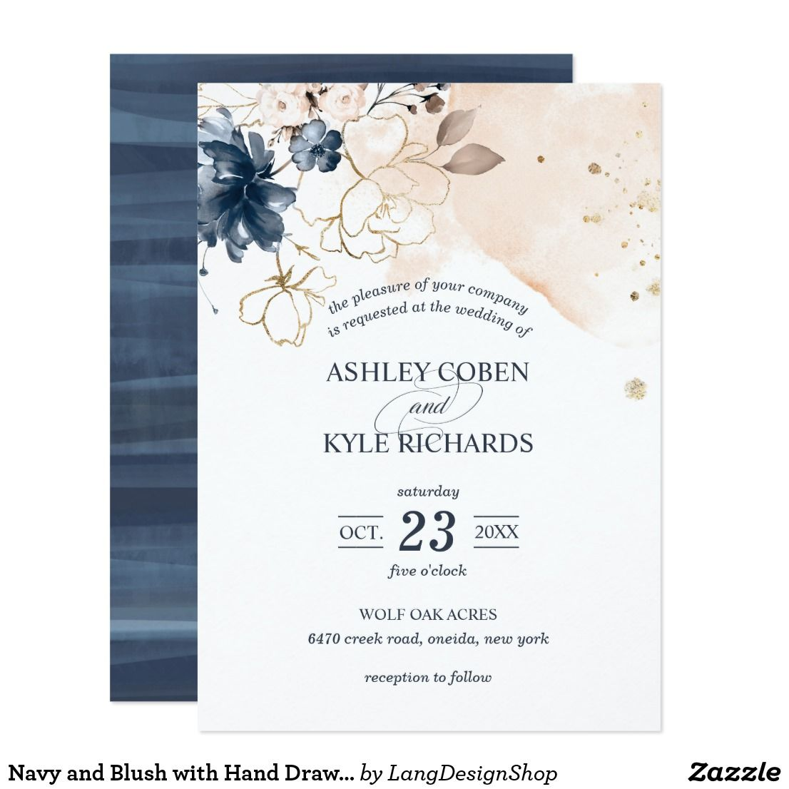Navy And Blush With Hand Drawn Flowers Wedding Invitation Zazzle