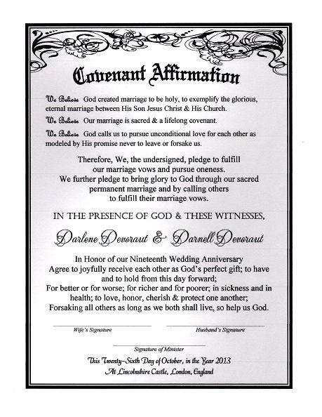 Timeless Silver Romance\' Marriage Covenant Renewal Certificate ...