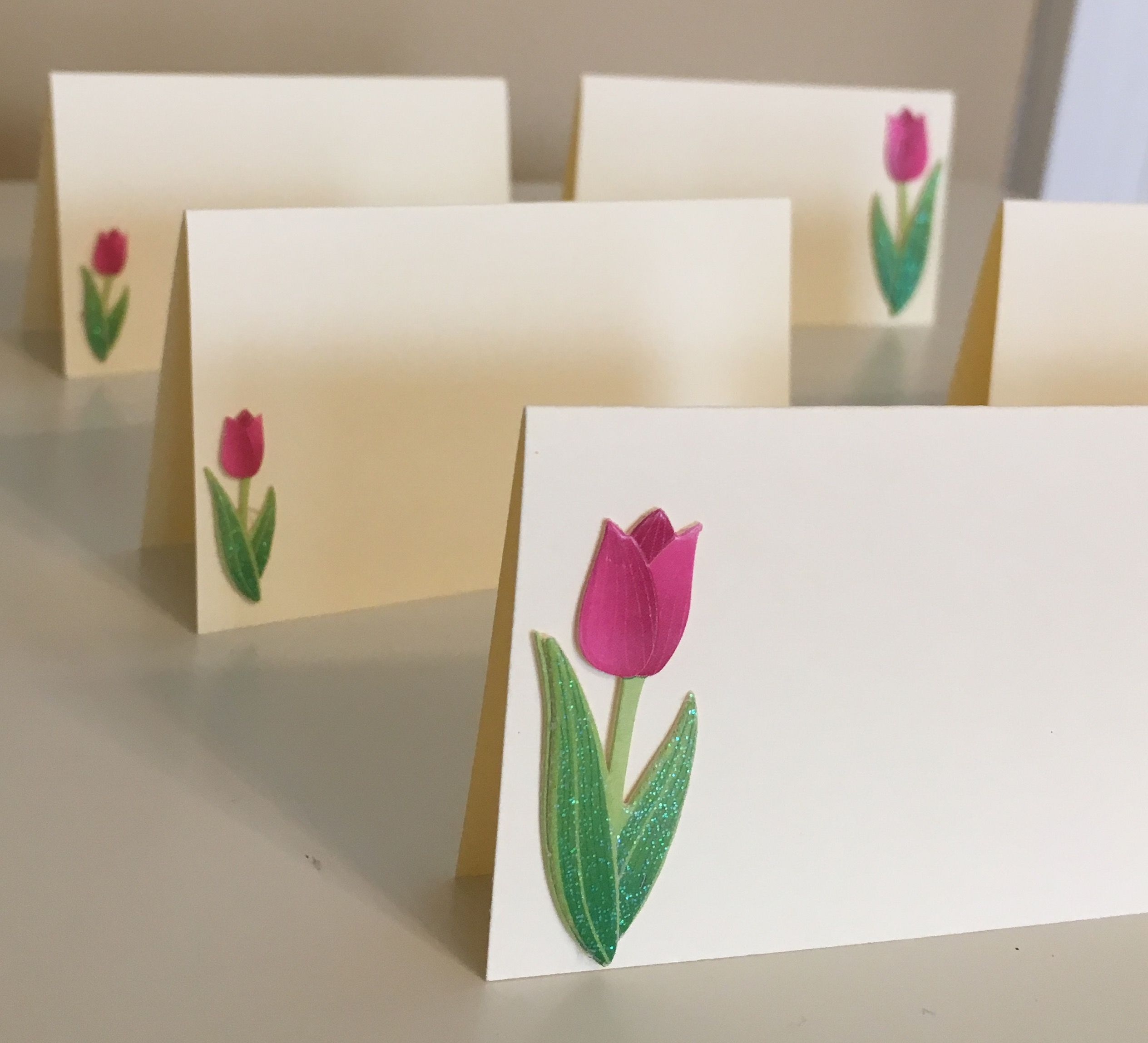 pink Tulip flowers place cards name cards seating assignments