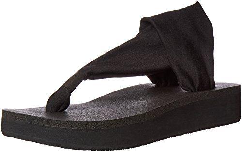 Sanuk Women's Yoga Sling Wedge Flip Flop, Black, 9 M US