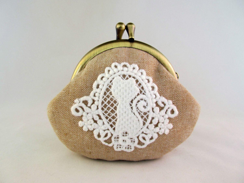 Lace aplique Cat Purse - Cute Coin Purse - Coin Pouch - Change Purse ...