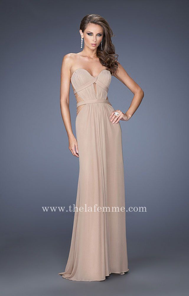 Gathered Illusion Criss Cross Band La Femme 20094 Prom Dresses ...