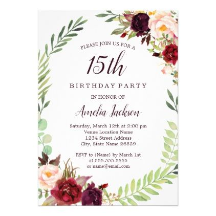 Flower Wreath Burgundy 15th Birthday Invitation Birthday Cards