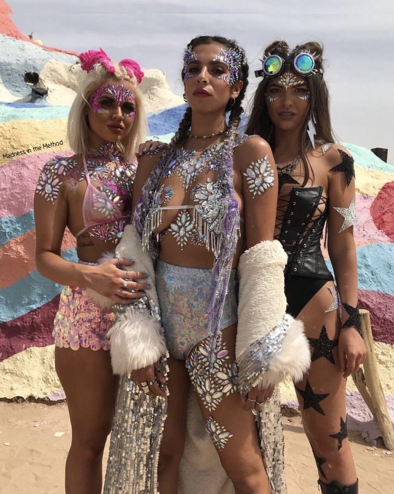 Glitter Bling Body Art Festival Outfits Rave Festival Outfit Coachella Edm Festival Outfit