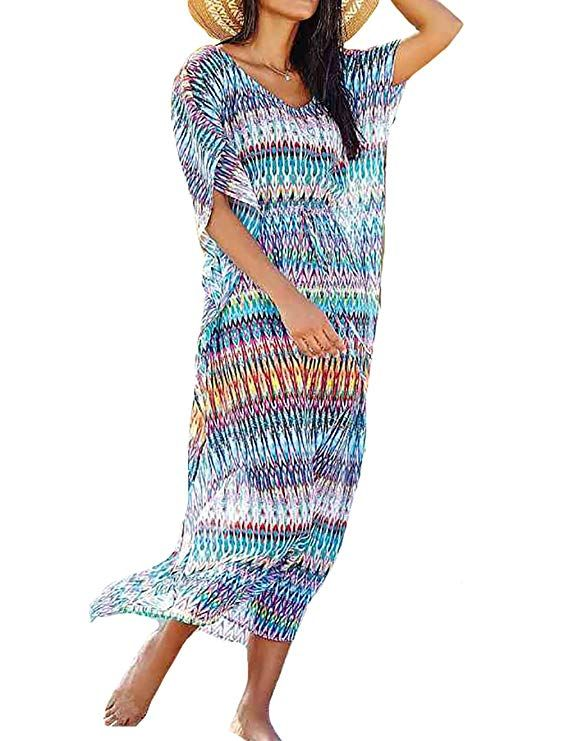 5fe7939c7e Bestyou Women s Print Chiffon Swimwear Turkish Kaftans Cover up Caftan Dress  (Blue C) at Amazon Women s Clothing store