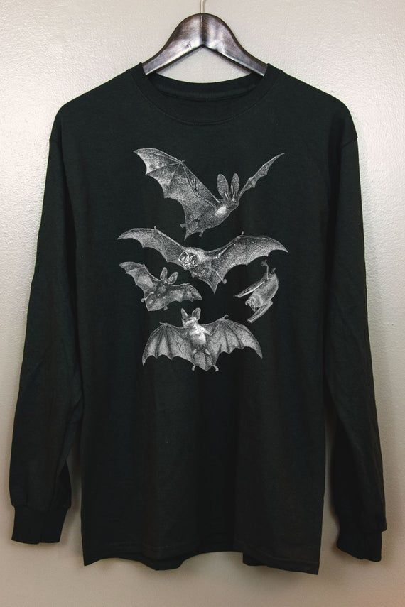 Gothic Long Sleeve T Shirt | Witchy clothing Pastel goth Dark grunge Tumblr aesthetic Halloween Vampire Bat Vintage | Release the Bats