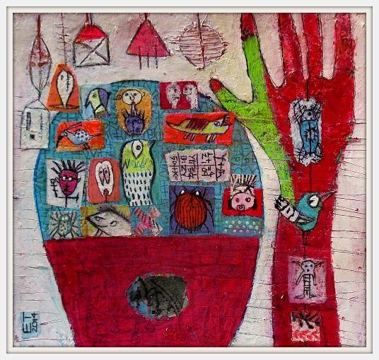 Meinekleinegrossewelt.... acrylic on paper 25x25cm Elke Trittel