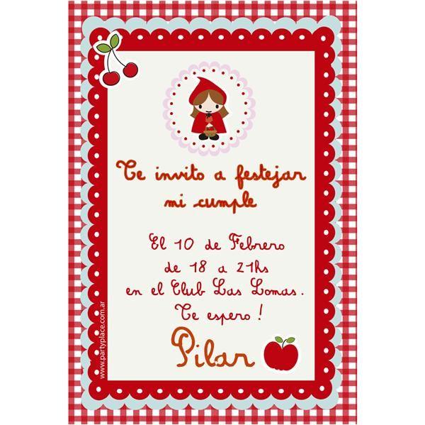 Invitaciones Caperucita Roja 12u Personalizadas