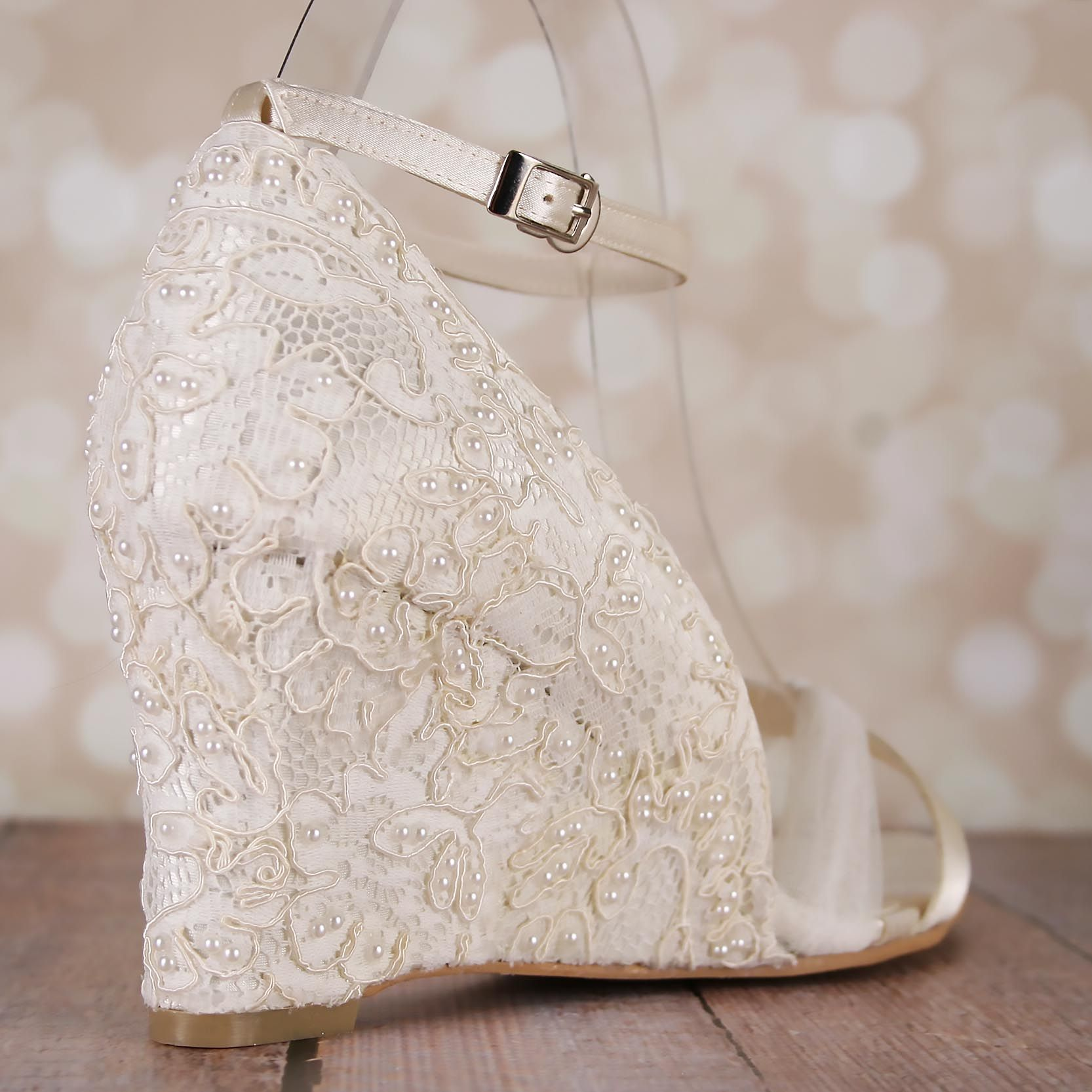 Ivory Wedge Wedding Shoes Lace Heel Tulle Strap Ankle Strap Pearl