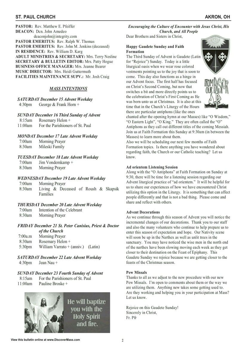 St  Paul Catholic Parish Akron Bulletin December 16th