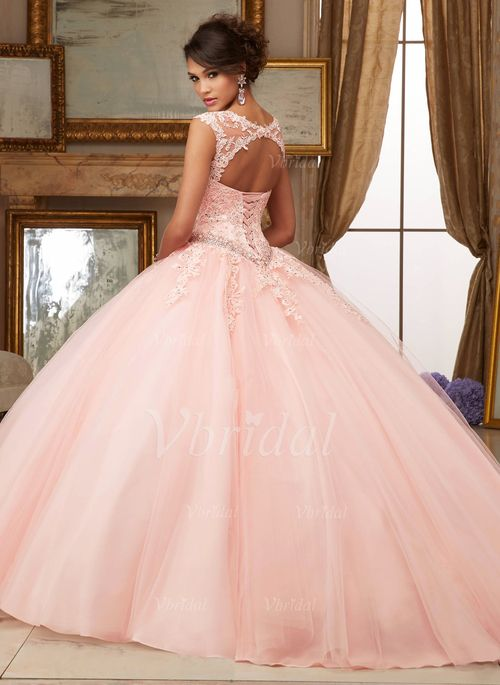 4f1ef34ce38 Ball-Gown Scoop Neck Floor-Length Beading Appliques Lace Tulle Lace Up  Covered Button Cap Straps Sleeveless No Red Pearl Pink Other Colors Spring  Summer ...
