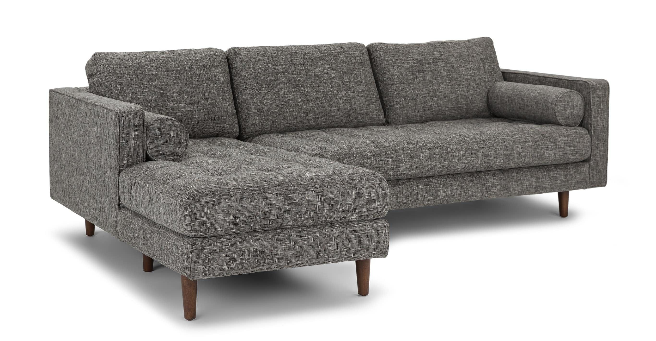 Gray Left Sectional Sofa Tufted Article Sven Modern Furniture
