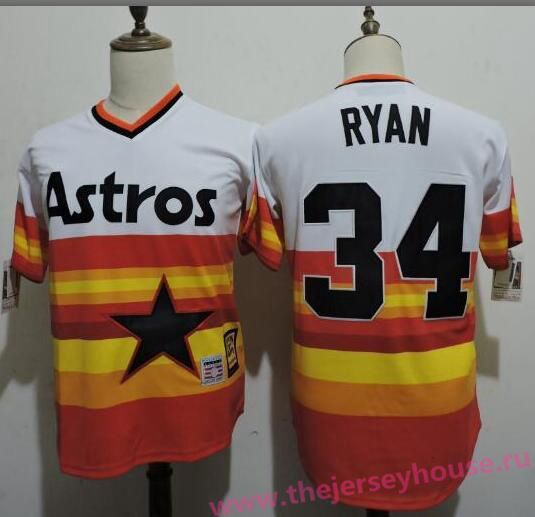 86ad80dc136 Men s Houston Astros  34 Nolan Ryan Rainbow Stitched MLB Majestic Cool Base Cooperstown  Collection Player Jersey