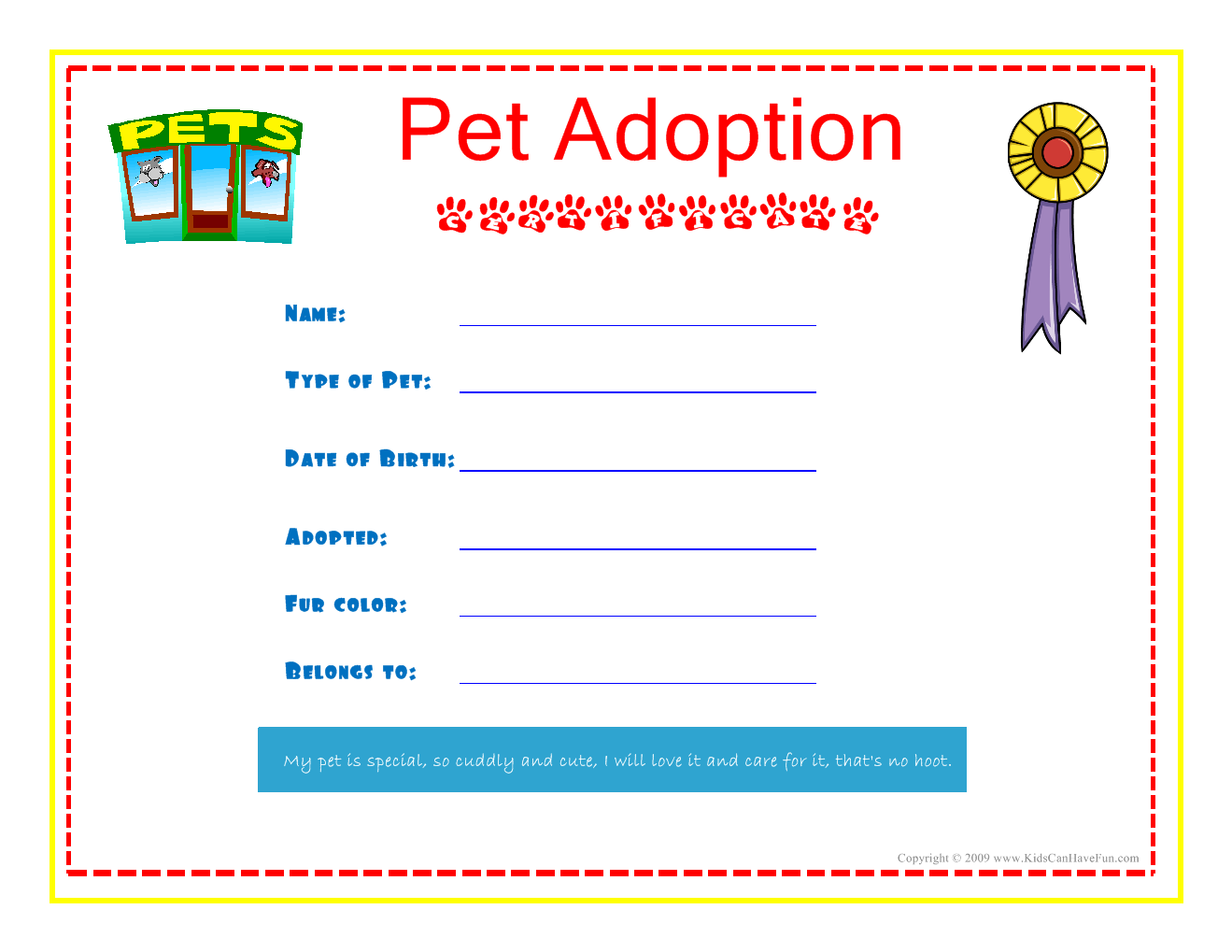 Pet adoption certificate for the kids to fill out about for Adoption certificate template