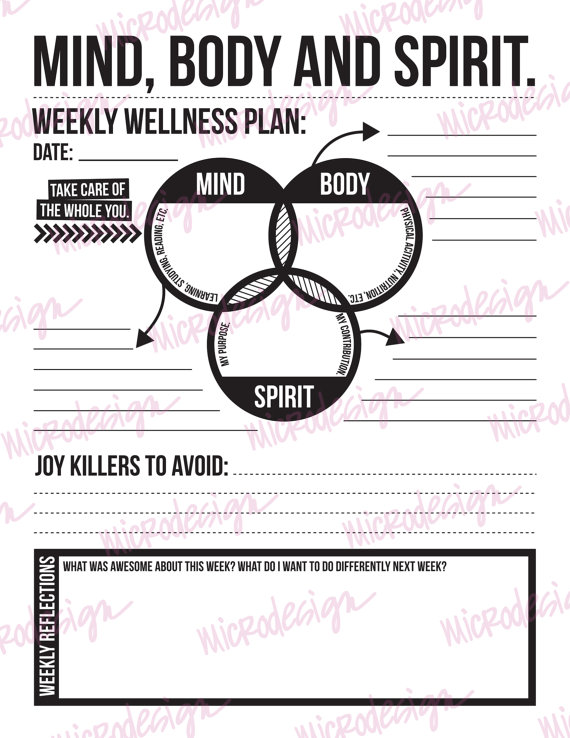 mind body spirit: weekly wellness plan by microdesign on Etsy | art ...