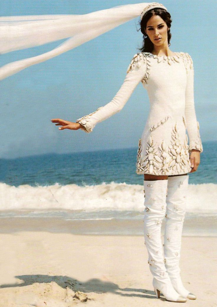 Emina Cunmulaj In A Fall 2006 Wedding Minidress And Thigh High Boots Photographed By Arthur