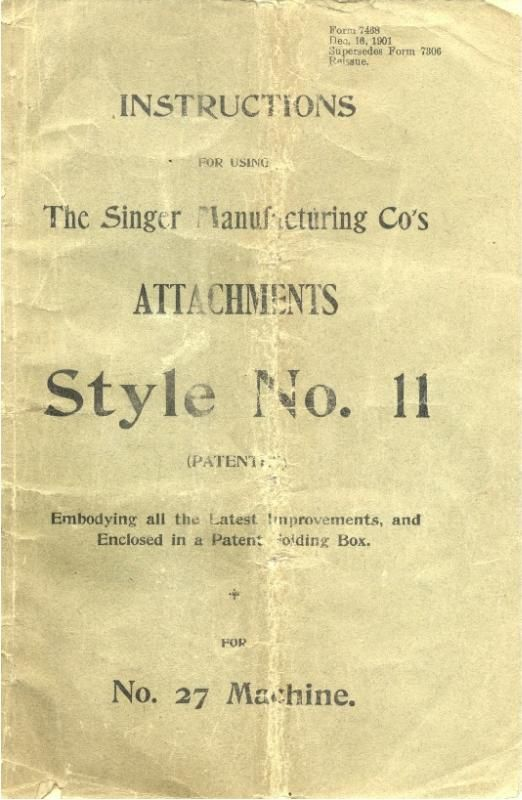 Puzzle Box And Attachments Guide Style No 11 For Singer Model 27