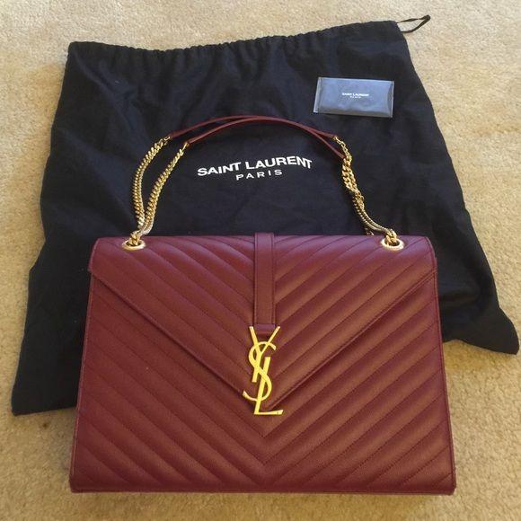 3b884d20425 Sold on Tradesy YSL Envelope Shoulder Bag Large YSL handbag features  antiscratch leather upper, gold