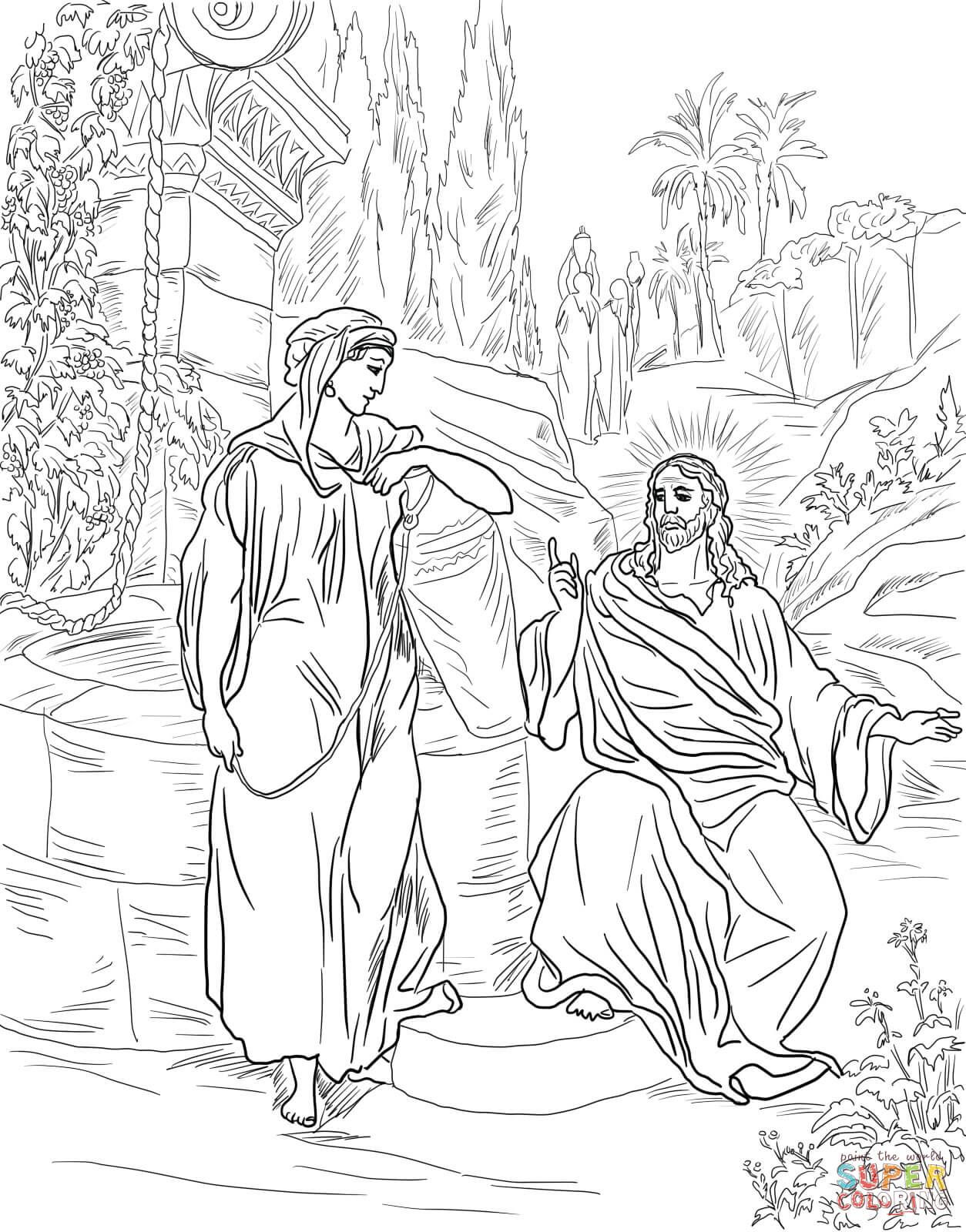 Refundable Woman At The Well Coloring Page Free Jesus And