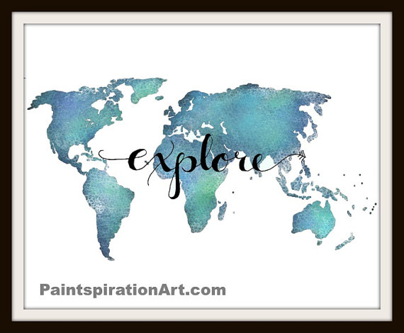 Explore print world map wall art inspirational quote poster aqua explore print world map wall art inspirational quote poster aqua art travel quote poster teal home decor gift for traveler map artwork gumiabroncs Choice Image