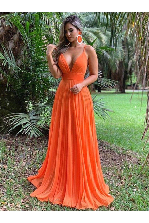 A Line Spaghetti Straps V Neck Long Prom Dresses Formal Evening Gowns 601813 Orange Prom Dresses Evening Dresses Prom Backless Evening Dress [ 1500 x 1000 Pixel ]