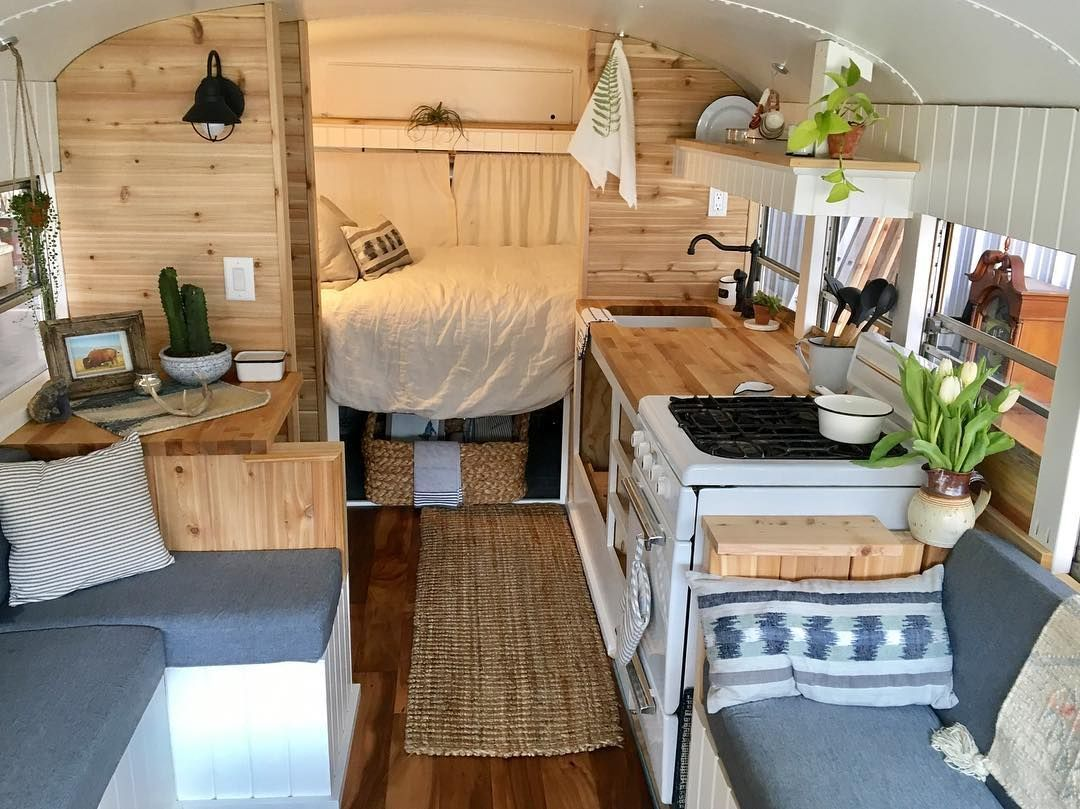 Inspired Picture of Short Bus Conversion Interior Ideas For Cozy Living #cozyliving