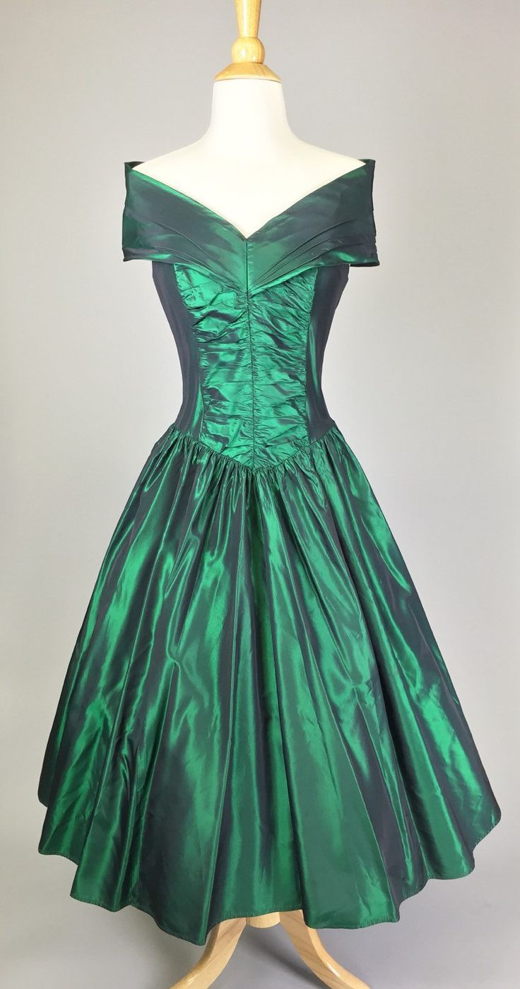 The Gal From Emerald City - 80s Iridescent Green Prom Dress ...