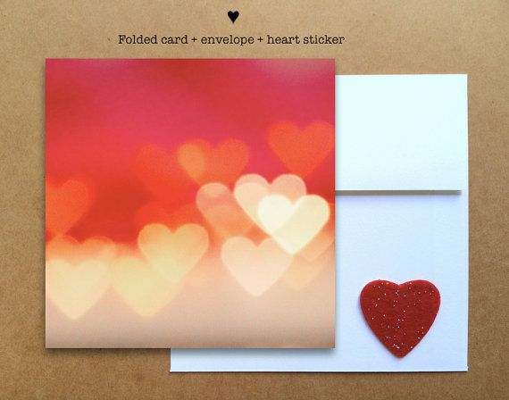 Blank photo card printed on recycled paper // shared with love // profits support clean water projects // Valentine's day heart bokeh (©Julee Dyer)