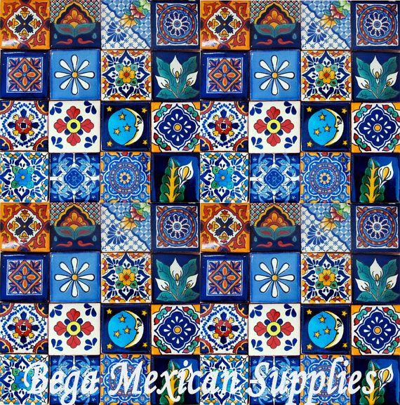 50 mexican talavera tiles mixed designs 2x2 mosaic tiles for Azulejo de talavera mexico