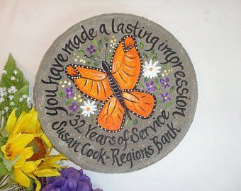 Retirement Gift, Years of Service, Hand Painted Garden Stone, Retirement Gifts, Teacher Gift, Gift from Student, Gift for Teacher, Ideas #employeeappreciationideas EMPLOYEE APPRECIATION    PERSONALIZED RETIREMENT & EMPLOYEE APPRECIATION and  RECOGNITION #employee appreciation #employeerecognitiongifts  #employeerecognitiongifts #employeeappreciationgifts #retirementgifts  #retirementgardenstones #personalizedemployeegifts #gardenstones  #weddinggardenstones #pinterest #samdesigns #instagram #nur #employeeappreciationideas