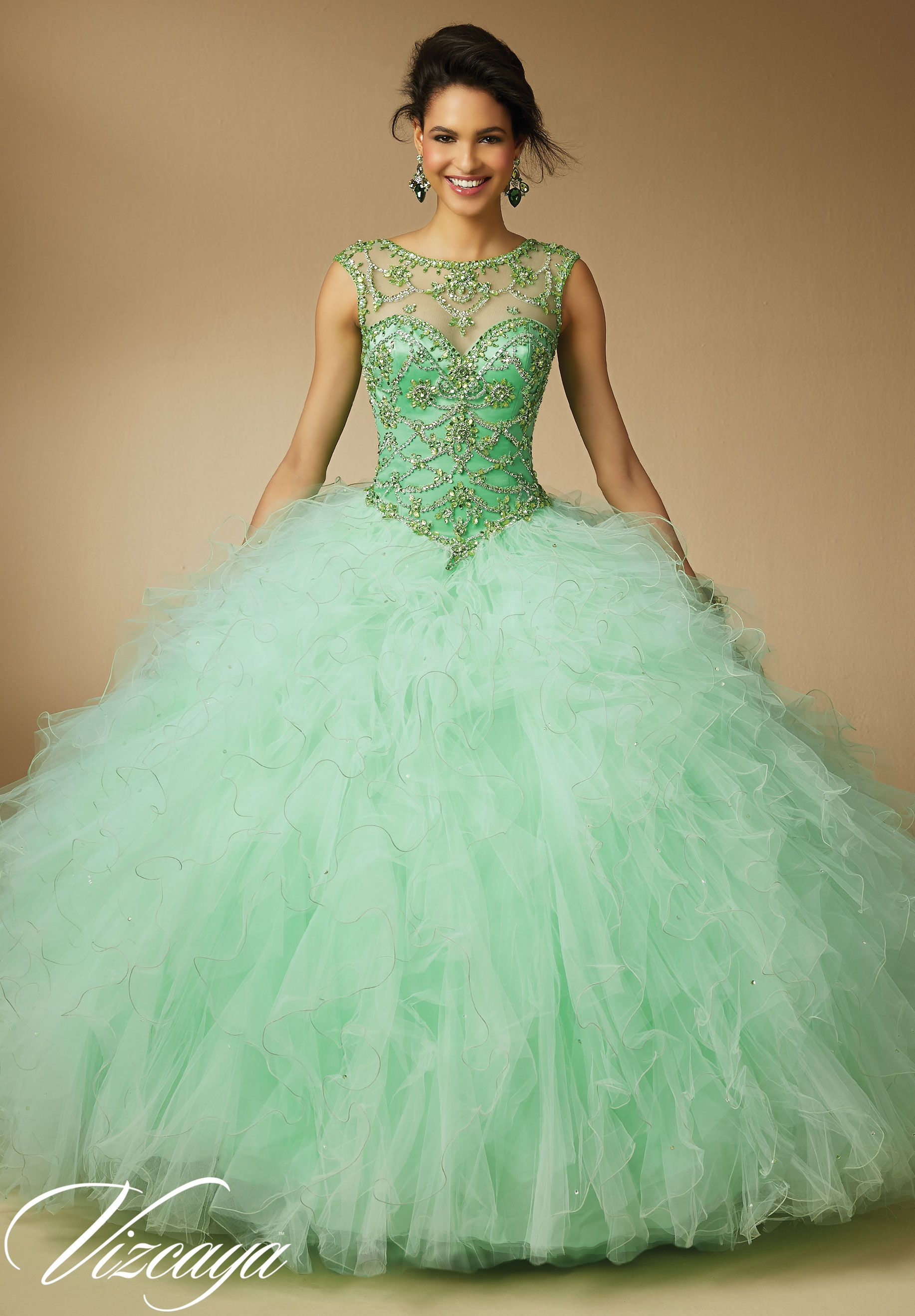 b0378f67b57d Quinceanera Dress 89041 Jeweled Beading on Ruffled Tulle ...