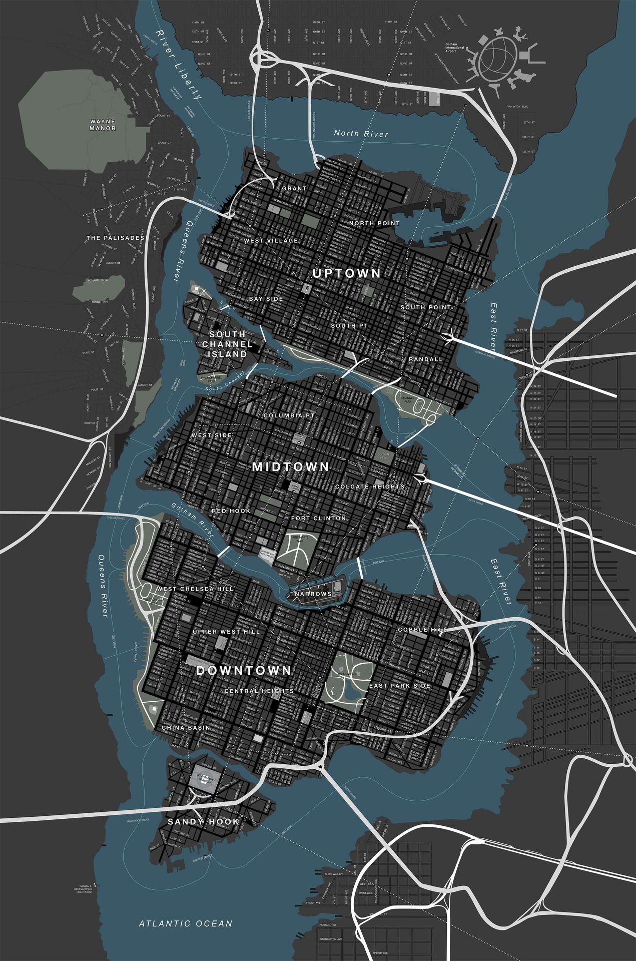 DC Comics - Map of Gotham City - Batman (Chris Nolan Films) | Dark ...